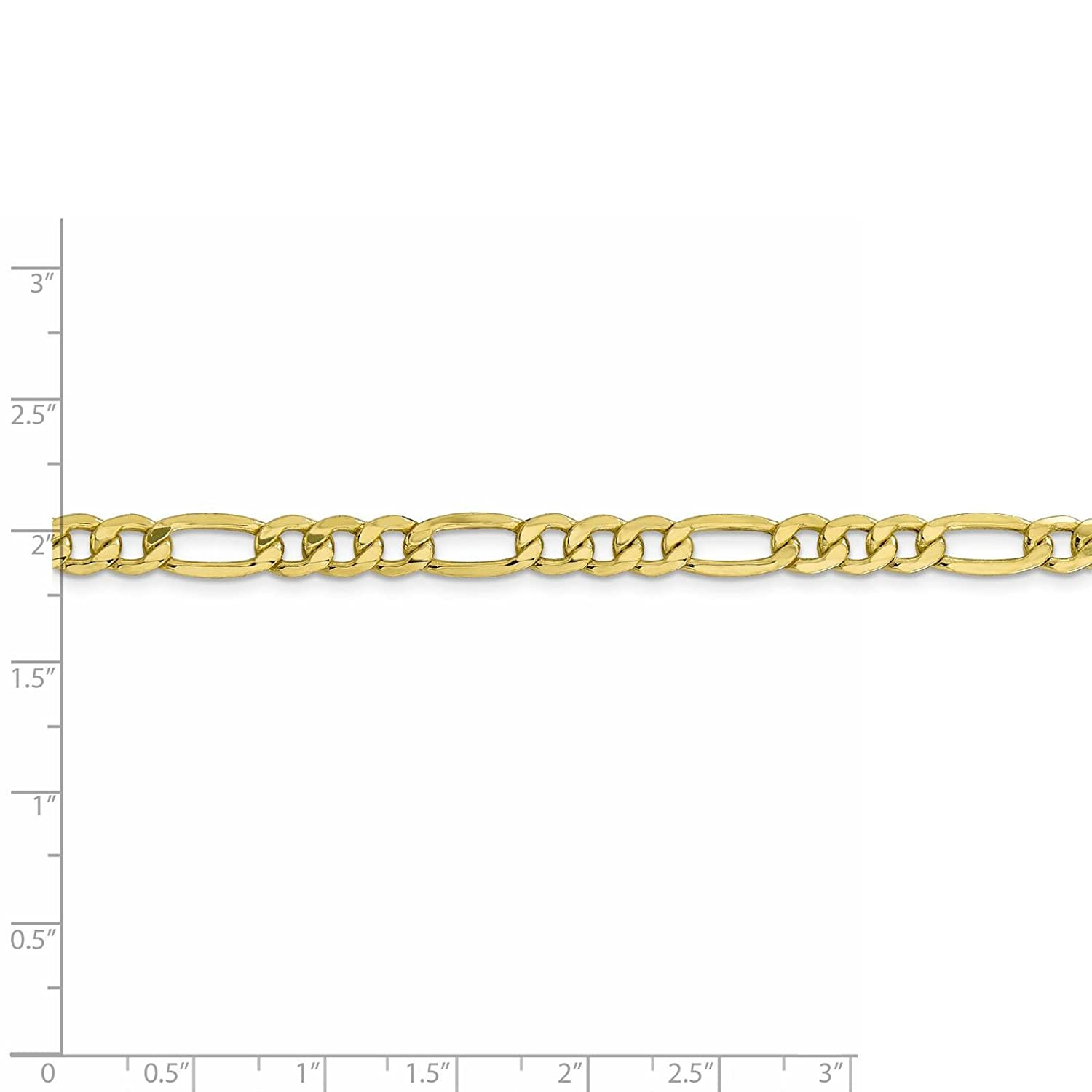 10k Yellow Gold Polished 6.2mm Semi-Solid Figaro Link Chain Bracelet 7-26