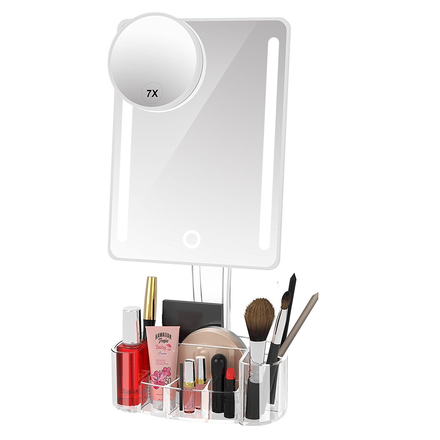 Artifi Lighted Vanity Mirror, Lighted Makeup Mirror with Acrylic Makeup Organizer and Removable 7X Magnification Makeup Mirror with Lights, Xmas Gifts