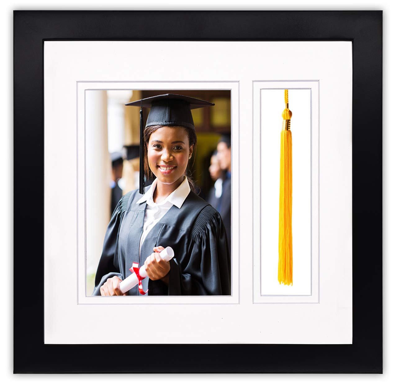 Golden State Art, 10x10 Graduation Shadow Box Frame for 5x7 Photo with Tassel Insert, Double Mat (White Over White)