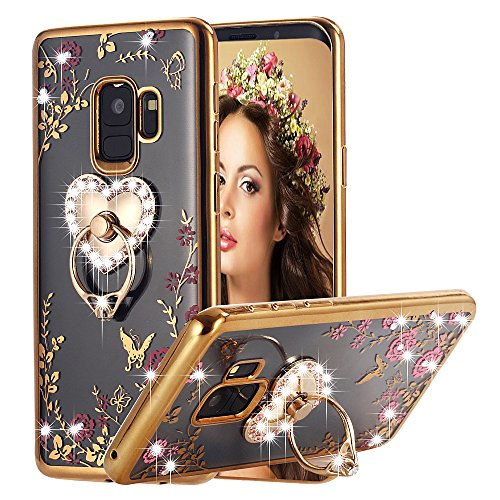Galaxy S9 Case Ring Holder, Miniko(TM) Soft Slim Bling Rhinestone Floral Crystal TPU Plating Rubber Glitter Case Cover with Detachable 360 Finger Kickstand Bling Ring Holder for Galaxy S9 Gold