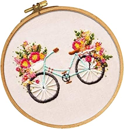Embroidery Material Package for Beginners Adults SM SunniMix Cartoon Flower and Bike Pattern Needle Thread Sewing Kits with Cross Stitch Hoop