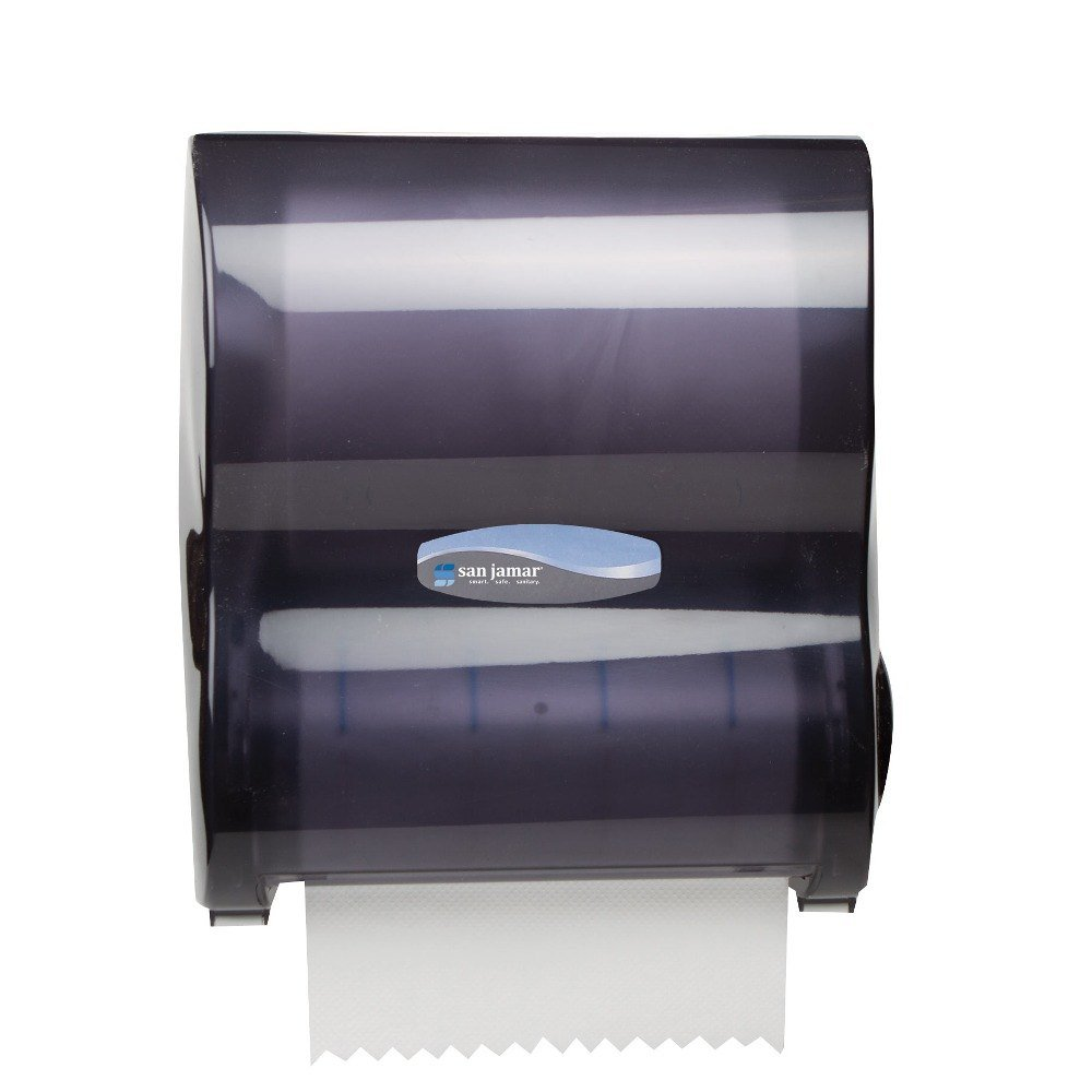 San Jamar T7100TBK 10'' Simplicity Hands-Free Mechanical Roll Towel Dispenser, Black Pearl