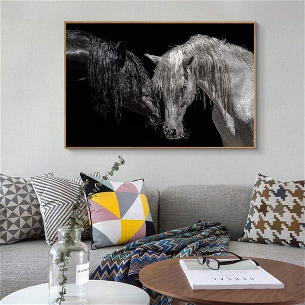 Pintura al óleo Cuadro en lienzo de caballo animal moderno, carteles e impresiones de animales románticos, cuadros artísticos de pared para decoración del hogar (sin marco) 60x90cm