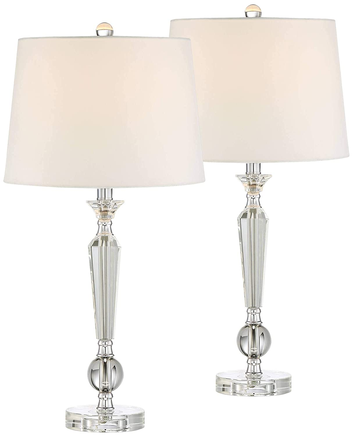 Jolie traditional table lamps set of 2 crystal candlestick off white drum shade for living room family bedroom vienna full spectrum amazon com
