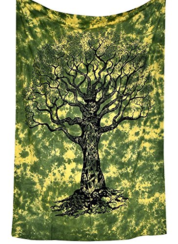 Green Tie Dye Twin Tree Of Life Indian Designs Tapestry Throw Bedspread Wall Hanging