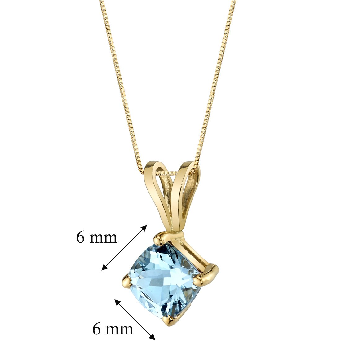 64911784d6a Amazon.com  14 Karat Yellow Gold Cushion Cut 0.75 Carats Aquamarine Pendant   Jewelry