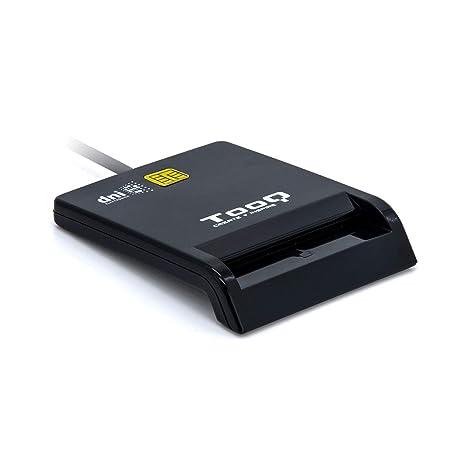 Tooq TQR-210B - Lector Externo de DNI electrónico y Tarjetas Inteligentes (DNIe), USB 2.0, Color Negro y Blanco, 480Mbps.