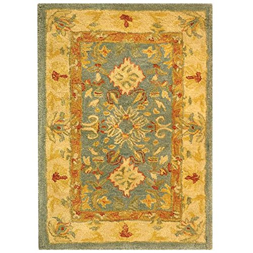 Safavieh Anatolia Collection AN544D Handmade Traditional Oriental Light Blue and Ivory Wool Area Rug (2' x 3')