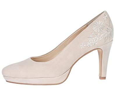 low priced 9fd50 5c389 Krüger Madl Damen Trachten Pumps Natur Beige Wildleder Dirndlschuhe mit  Stickerei