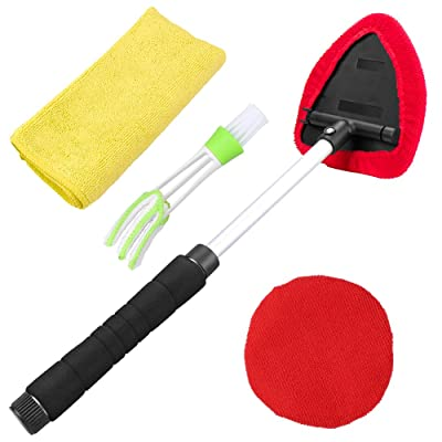 Dreamtop Windshield Cleaner Tool, 1Pcs Extendable Handle Window Cleaner Brush Kit with 2Pcs Microfiber Bonnets 1Pcs Microfiber Cloth 1Pcs Interior Car Detailing Brush: Automotive