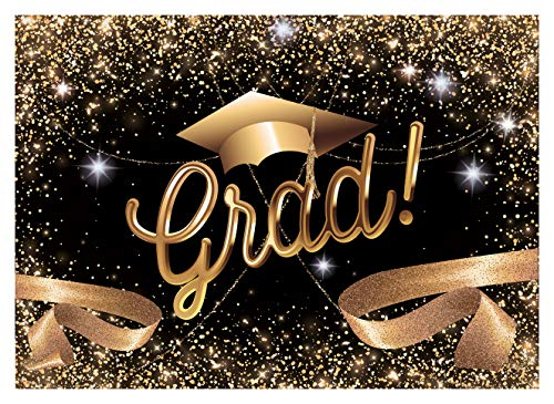 WOLADA 7X5ft Graduation Backdrop 2019 Grad Leave School Gold Trencher Cap Tassel Congrats Celebration Grad Graduation Ceremony Party Senior Pictures Decor Photography Backdrop Photo Studio Prop 11570