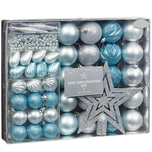 new style room decoration christmas tree decoration set 50pc ice blue silver - Blue And Silver Christmas Decorations