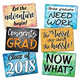 Vibrant Plastic Photo Booth Prop Signs - GRADUATION MIX - Set of 3 colorful signs for a high school or college graduation party - Class of 2018