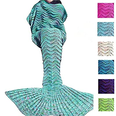 Fu Store Knitted Mermaid Tail Blanket for adult, All Seasons Sleeping Sofa Blankets Super Soft And Warm, Best Gift For Girl On Birthday Or Christmas