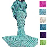 Fu Store Handmade Mermaid Tail Blanket For Adult Kid, Super Soft All Seasons Sofa Blanket, Best Birthday Christmas Gift, 71 x 35 Inches, Mint Green