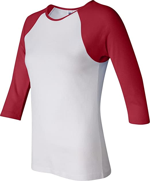 2f67147d Image Unavailable. Image not available for. Color: Bella+Canvas Ladies' Baby  Rib 3/4-Sleeve Contrast Raglan ...