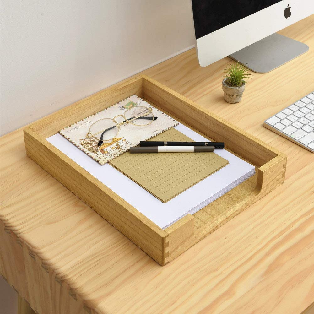 soporte de papel Bandeja de madera de tama/ño carta de un solo nivel de madera para documentos de carga frontal para organizador de escritorio de oficina archivo carpeta Revista de escritorio