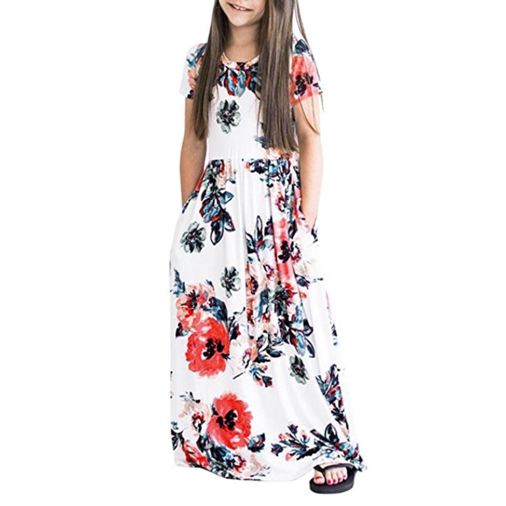BYSTE Abito Bambina Abiti Vestito da principessa, Ragazze Estate Manica corta Stampato floreale Vita elastica Lungo Maxi Vestito Con tasche