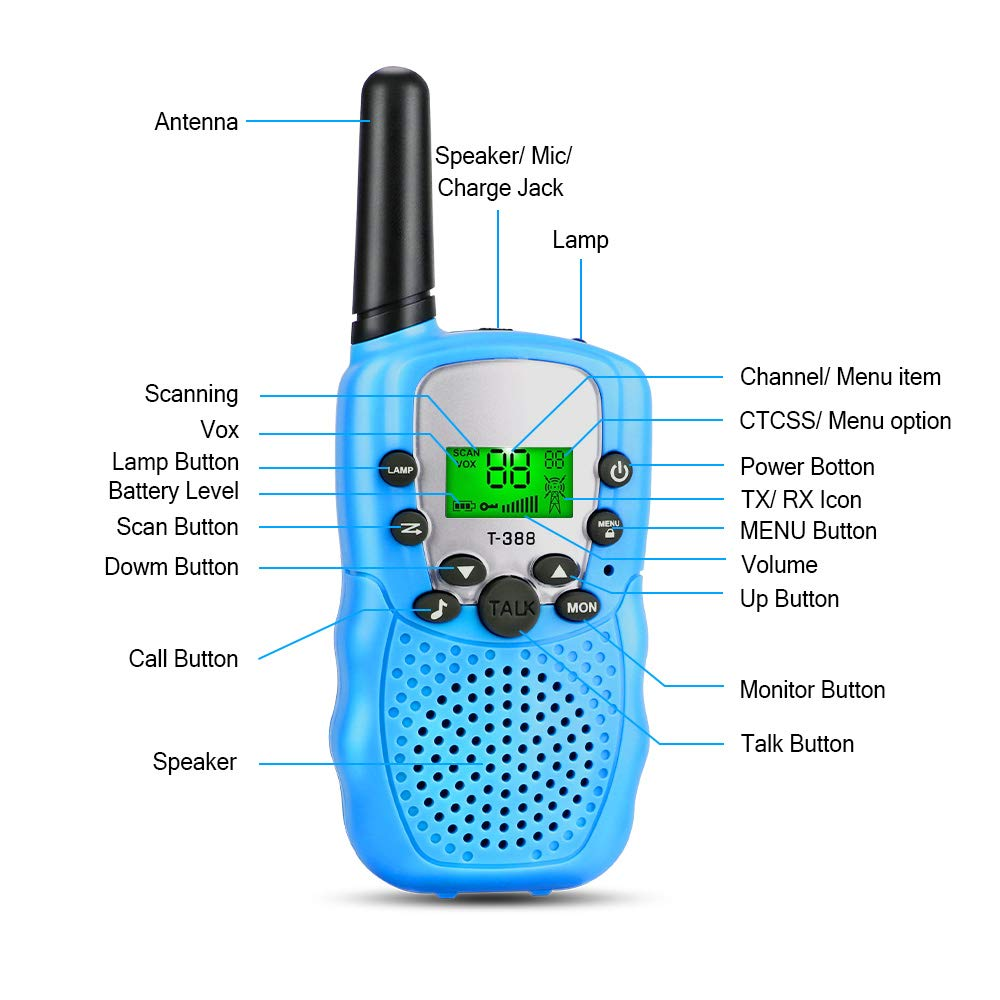 OneBom Walkie Talkies for Kids, Kids 2 Way Radios with 3 Miles Long Range , 2 Lanyards, Portable 22 Channel T388 (Blue) by OneBom (Image #3)