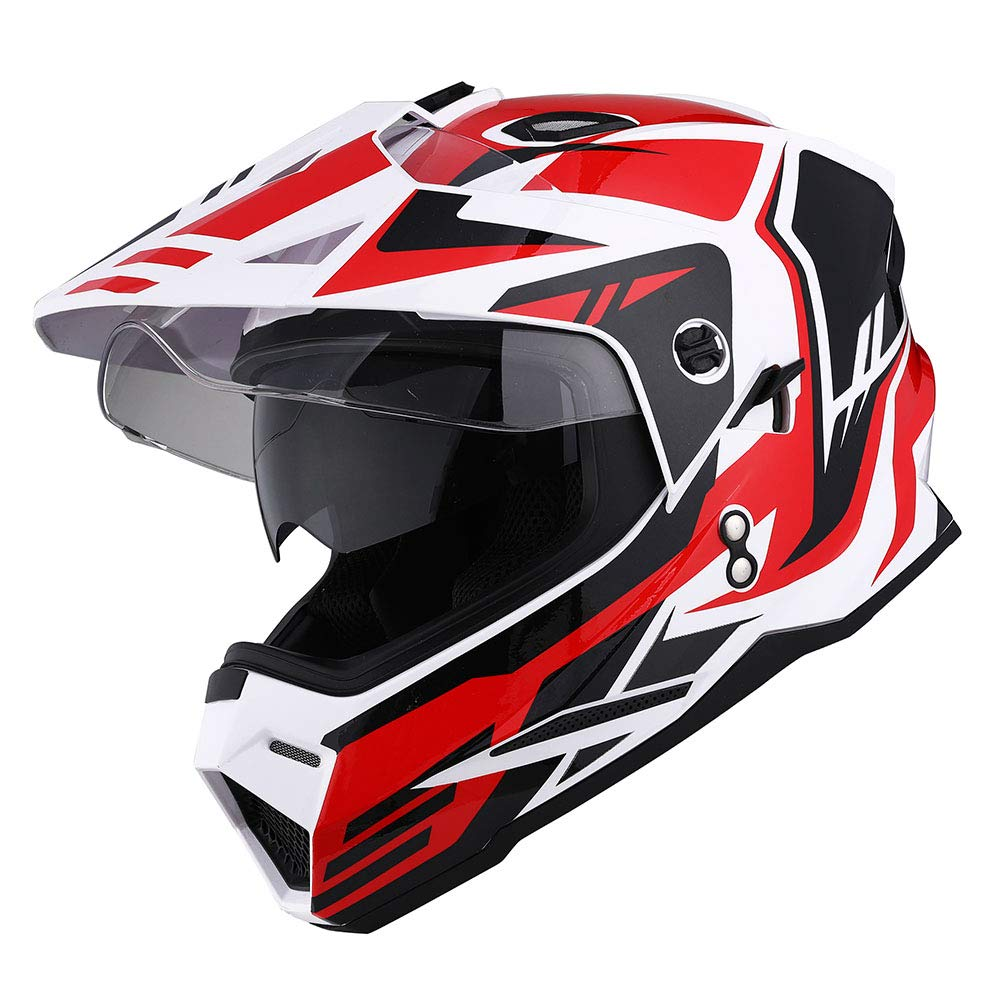 1Storm Dual Sport Motorcycle Motocross Off Road Full Face Helmet Dual Visor Matt Black Size XL