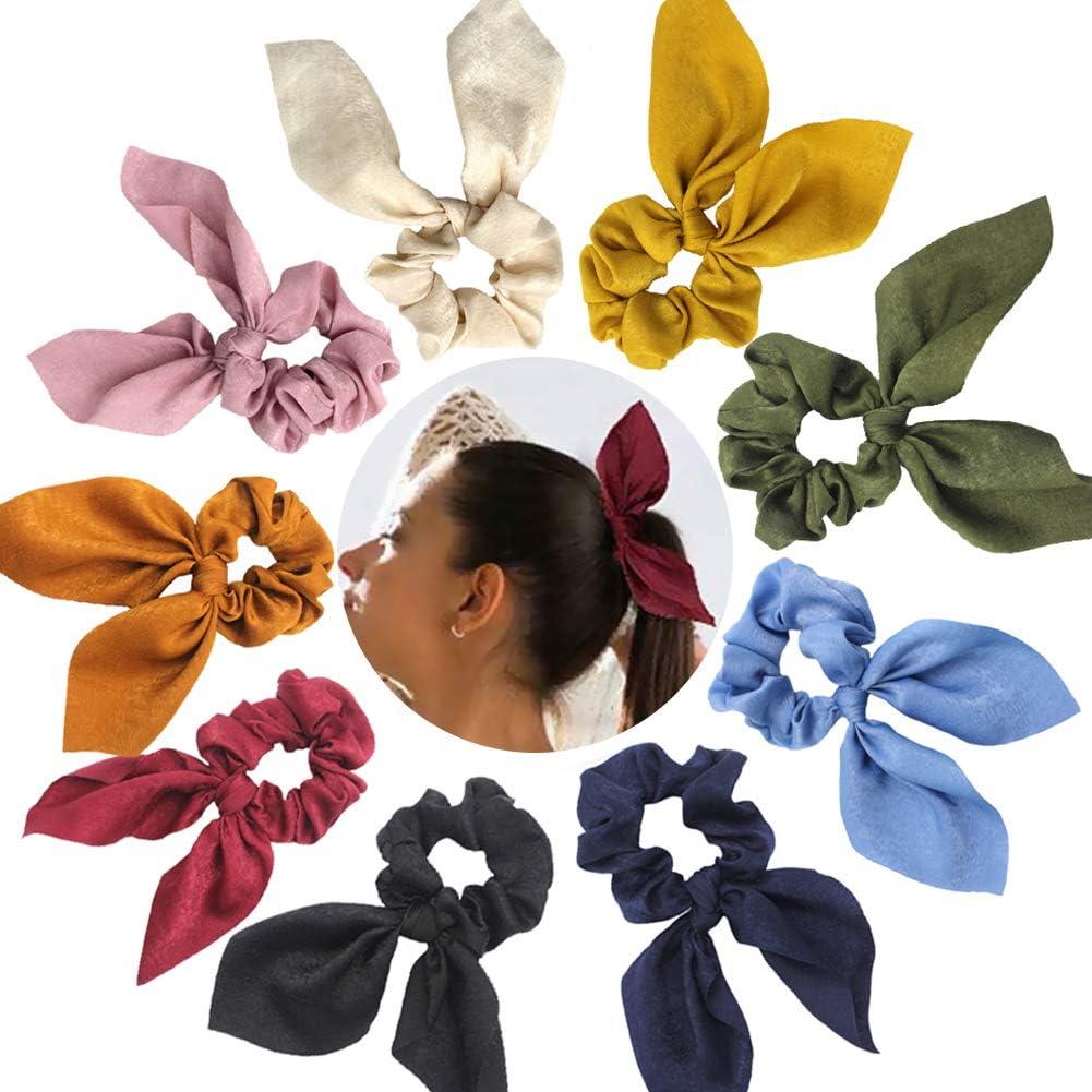 Paquete de 9 gomas para el pelo con diseño de orejas de conejo y ...