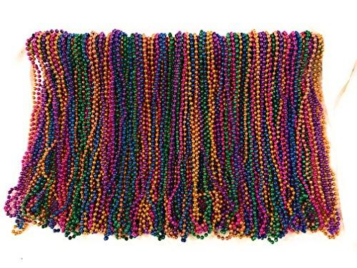 Mardi Gras Beads 33 inch 7mm, 10 Dozen, 120 Pieces (Assorted) -