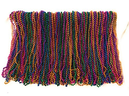 Mardi Gras Beads 33 inch 7mm, 10 Dozen, 120 Pieces (Mardi Gras Throw Beads)