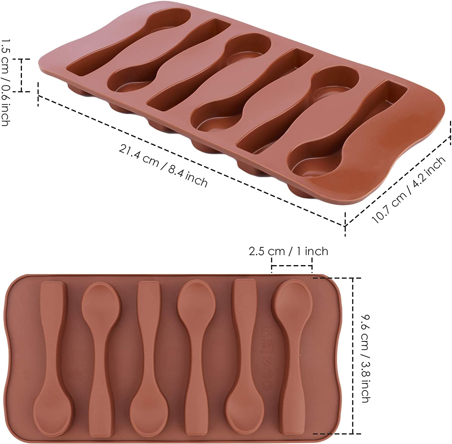 Ocmoiy Chocolate Spoon Mold 6 Pack Candy Cane Spoons Mold, Food Grade Silicone Molds for Baking Chocolate Candy Spoons, Peppermint Candy, Hot Cocoa & Coffee Butterscotch, Caramel Stirring Spoons
