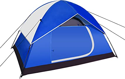 3-4 Person Pop Up Outdoor Tent Hiking Backpacing Double Layer Carrying Bag Blue
