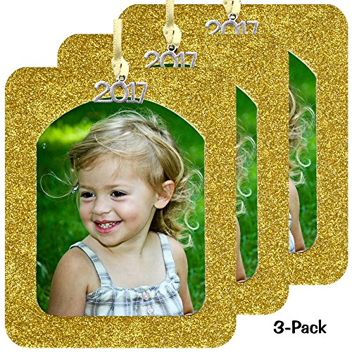 Bright Ornament (2017 Magnetic Glitter Christmas Photo Frame Ornaments with Non-Glare Photo Protector, Vertical 3-pack - Bright Yellow Gold)