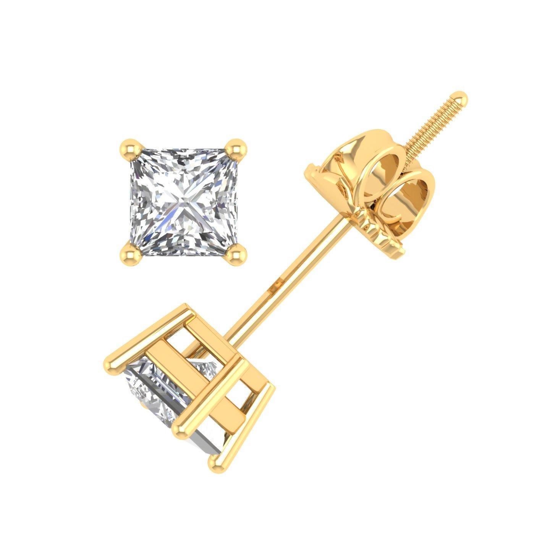 IGI Certified 14k Yellow Gold Princess Cut Diamond Stud Earrings (1/5 carat)