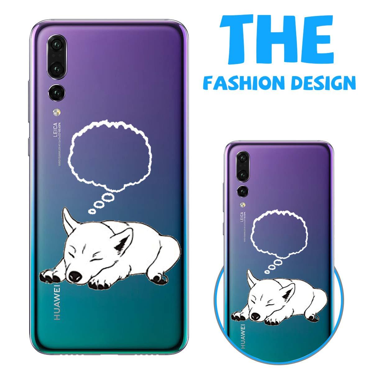 Caler Cover Compatibile con Huawei P20 Lite 2019 Custodia Trasparente con Disegni TPU Morbida Bumper Case con Motivo Carino in TPU Silicone Antiurto 3D Vogue Ultra Chic