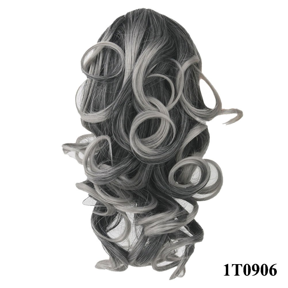 PrettyWit 12 Pony Tail Ponytail Hair Extensions Hairpiece Wig Long Messy Curls Wavy Clip In/On Claw-Jet Black 1B APClC062-1B
