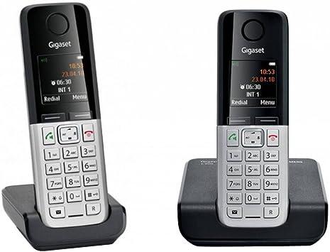 Gigaset C300 DUO - Teléfono fijo digital inalámbrico (DECT, SMS, manos libres), plata: Amazon.es: Electrónica