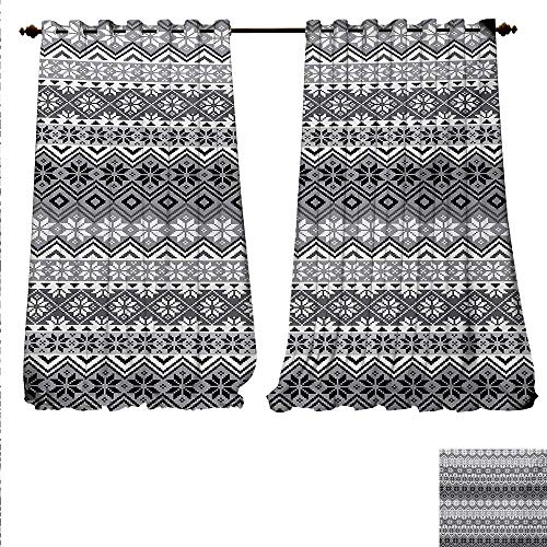 (familytaste Customized Curtains Nordic Snowflake Knit Patterns Scandinavian Motifs Traditional and Modern Print Thermal Insulating Blackout Curtain W96 x L108 Gray White Black.jpg)