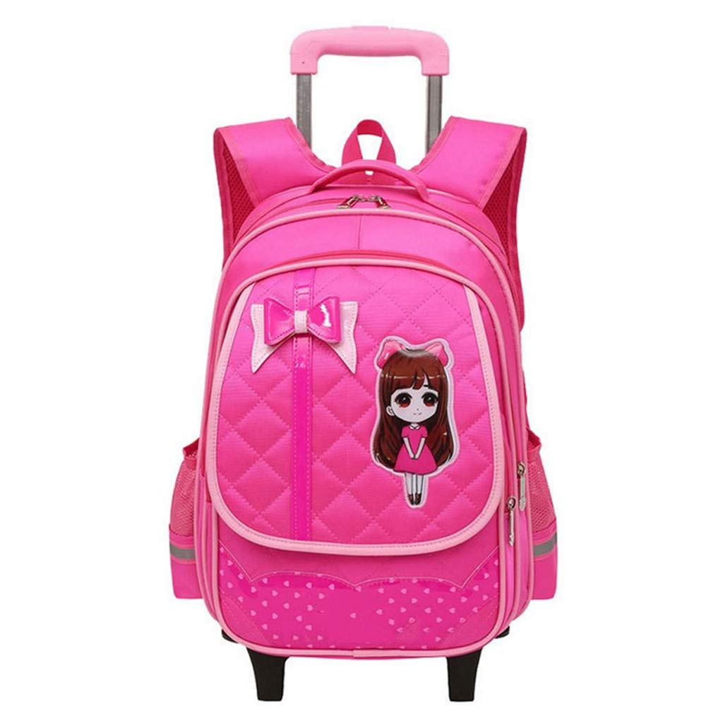 Red Two rounds OaLtt Princess Style Trolley Wheeled Backpack Carrying Suitcase two Rounds Cute Bow Waterproof Trolley Bag (color   Red, Size   Two rounds)