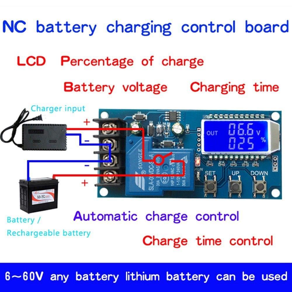 30A DC 6-60v LCD digital Plomo de plomo Batería de ión de litio Control de carga Fallo Interruptor de protección de sobrecarga 12V 24V COCHE