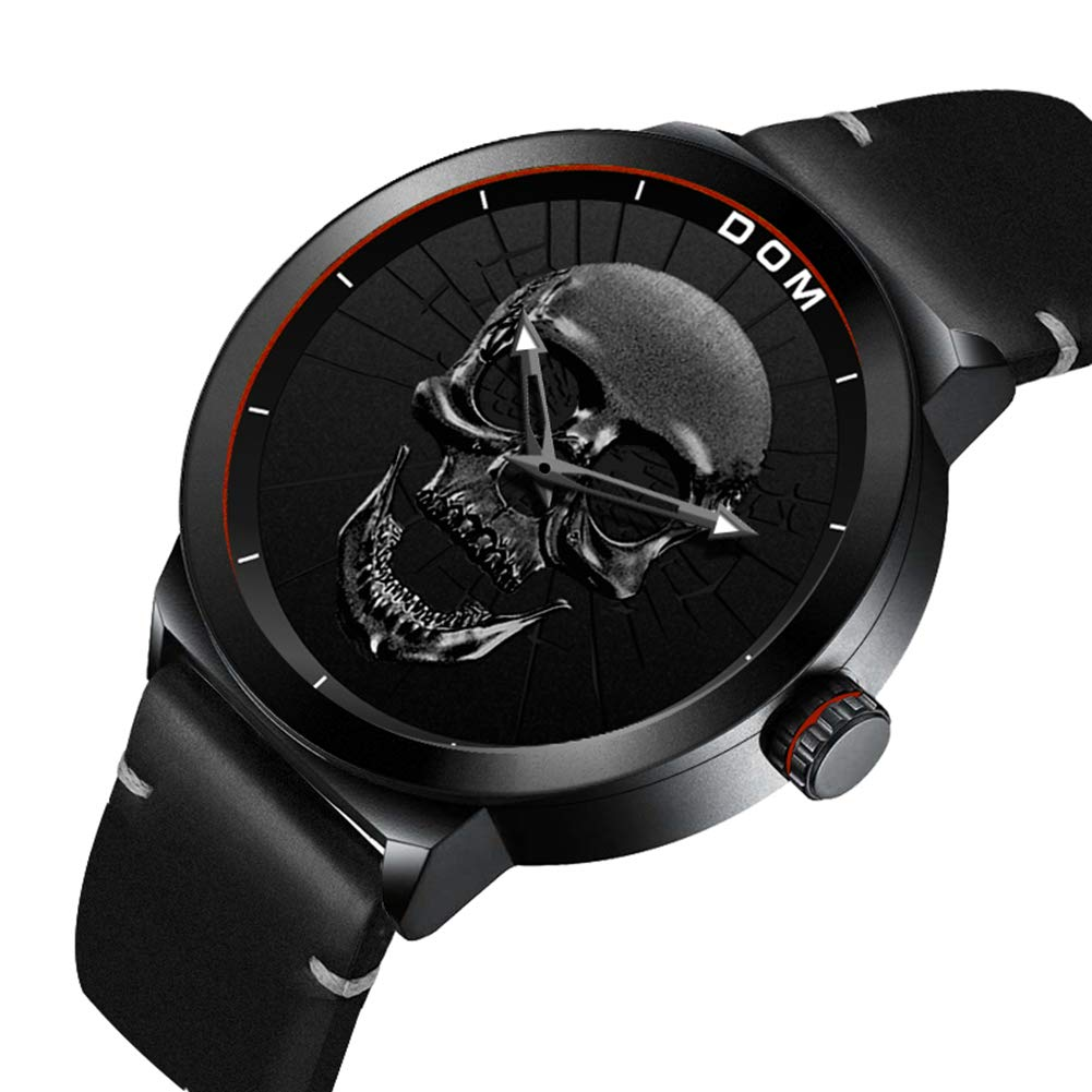 Amazon.com: Men Watch 3D Skull Boy Teenagers Waterproof Quartz Military Wristwatch with Milanese Mesh Band/Leather Band (Leather Band, Black 3D Skull): ...