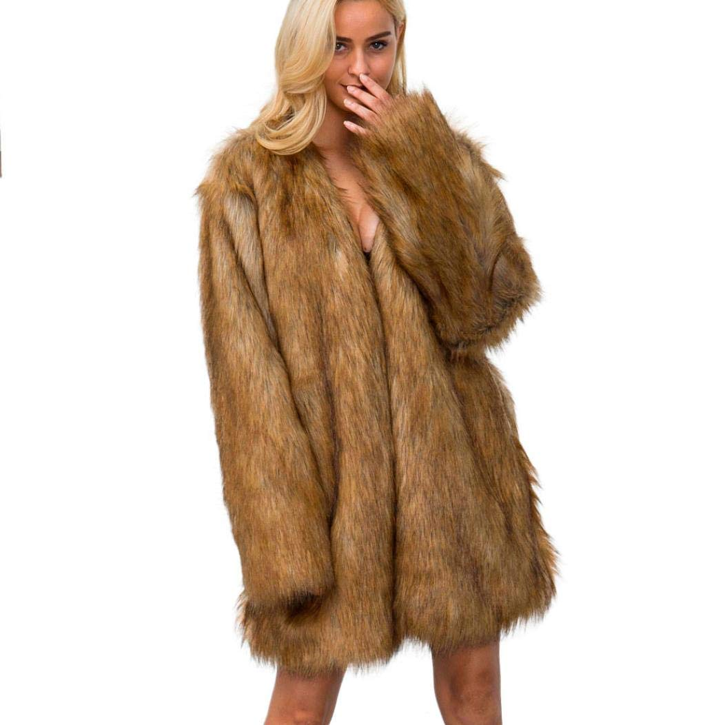 Pandaie Jacket,New Ladies Womens Warm Faux Fur Coat Jacket Winter Parka Outerwear