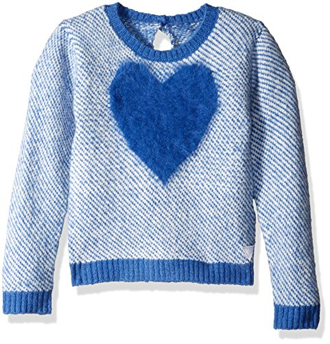 Price comparison product image GUESS Little Girls' Birds Eye Fuzzy Sweater with Knit Heart on Front, Blue Fantasy, 2
