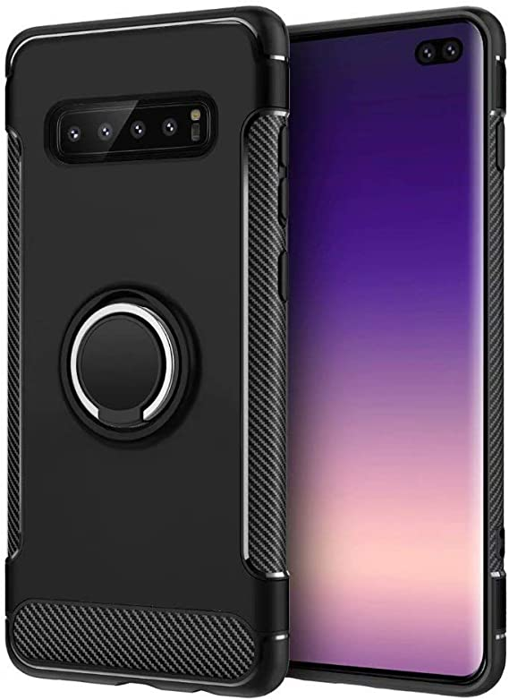 S10 Plus Case,DAMONDY Armor Dual Layer Ring Kickstand Shockproof 360 Degree Rotating Ring Drop Protection Shock Absorption Compatible Magnetic Car Mount case Holder for Galaxy S10 Plus-Black