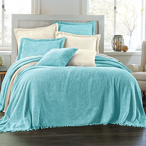 Brylane Home Cotton Chenille Bedspread (Turquoise,Queen)