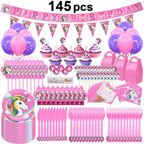 Price comparison product image Pawliss 145ct Unicorn Birthday Party Decorations Supplies Kit, Favor Boxes, Candles, Balloons, Cupcake Toppers, Knifes Forks Spoons Plates, Napkins Straws, Invitation Cards Banners, Bulk Pack Serves10