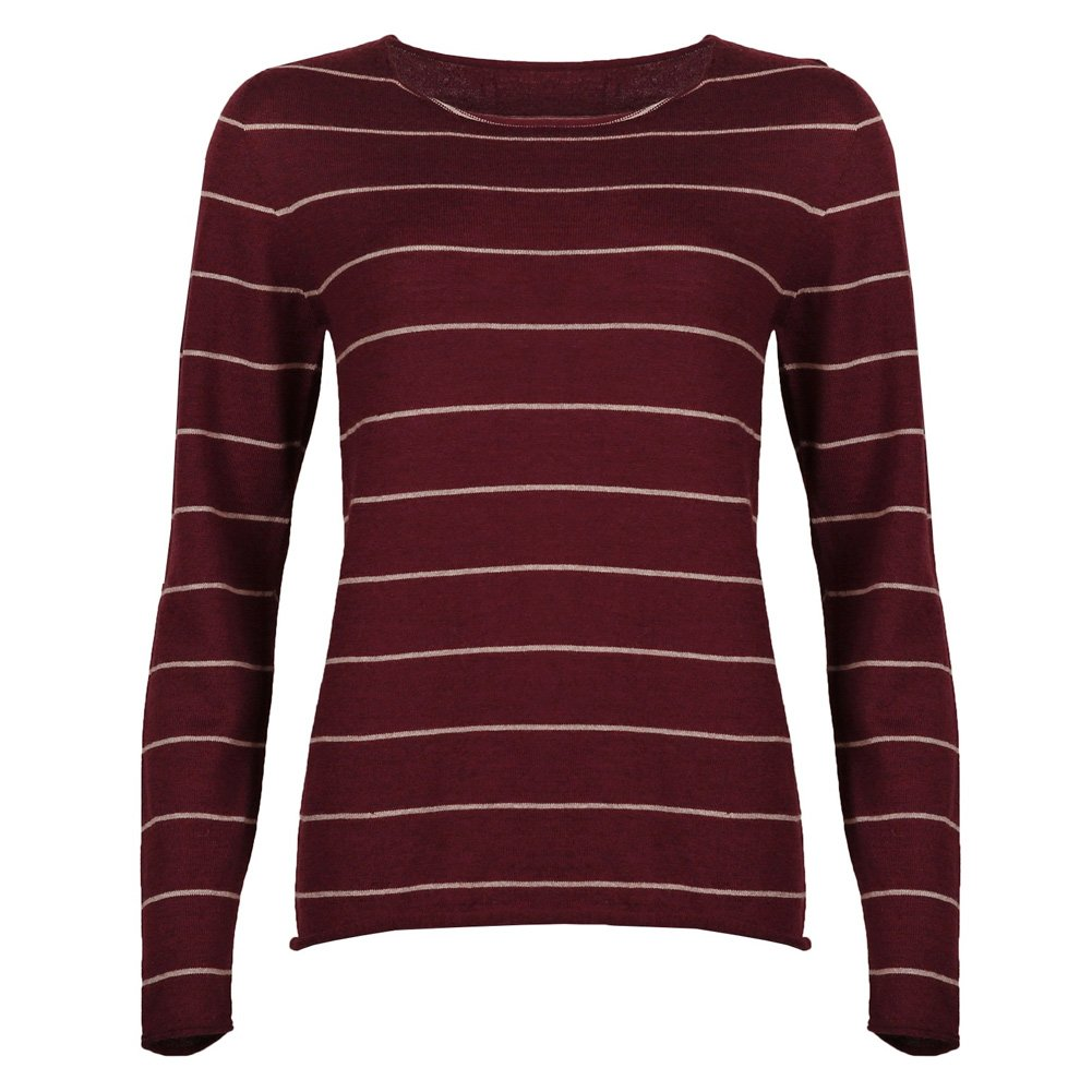 Celtic and Co Womens Fine Knit Merino Lambswool Crew Neck Knitted Sweater - Berry Stripe - Size Small
