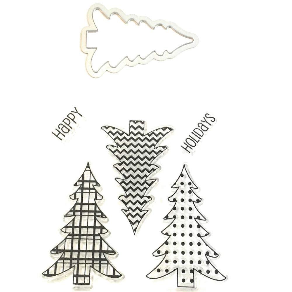 Christmas Tree Clear Stamps and Die Set | 5 Clear Stamps & Christmas Tree Metal Die TAB Import Sales