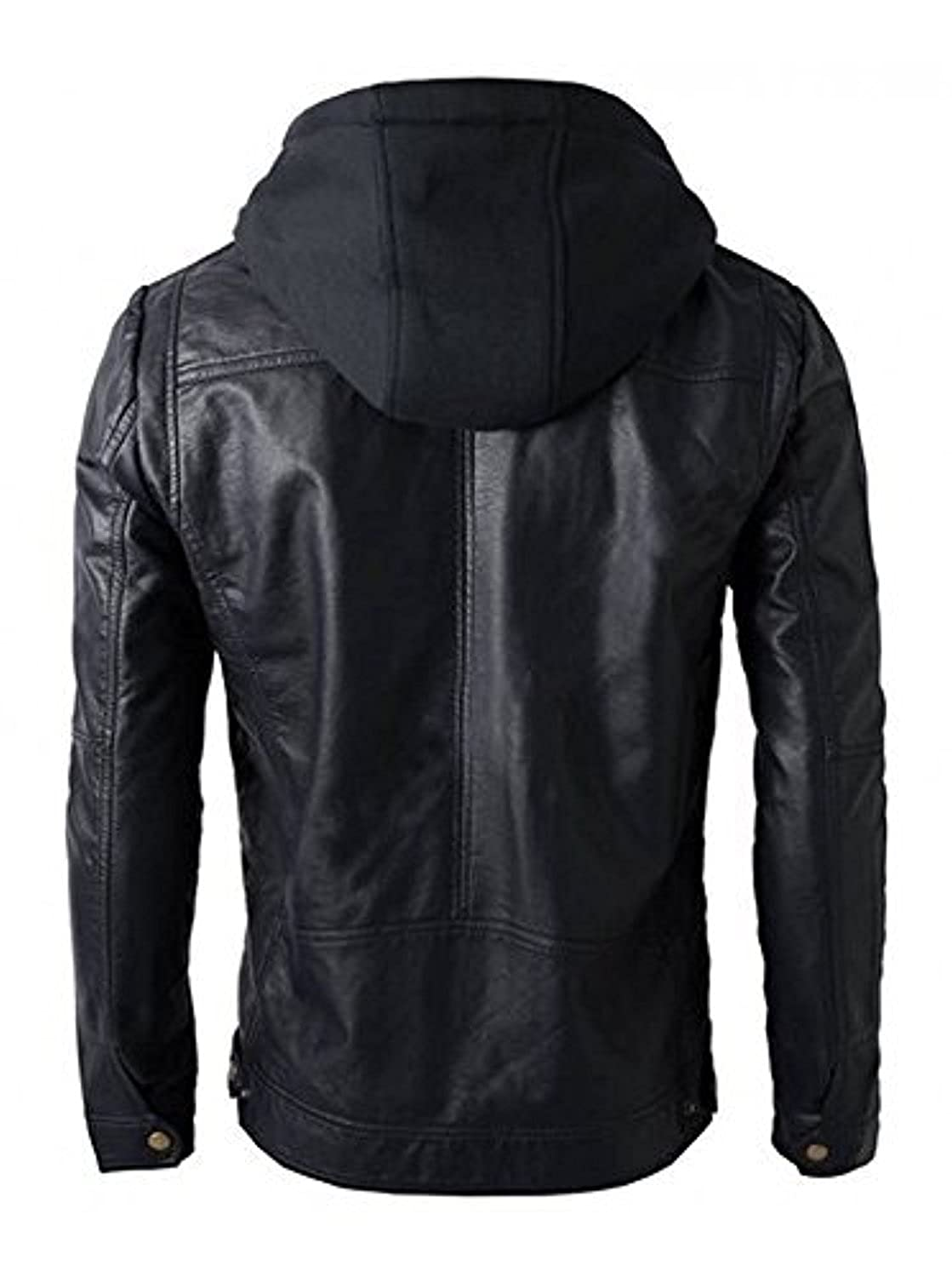 025bf75f745e SID Military Grade Men's Motorcycle Brando Style Biker Real Leather Hoodie  Jacket - Detachable Hood - Black - Large: Amazon.co.uk: Clothing
