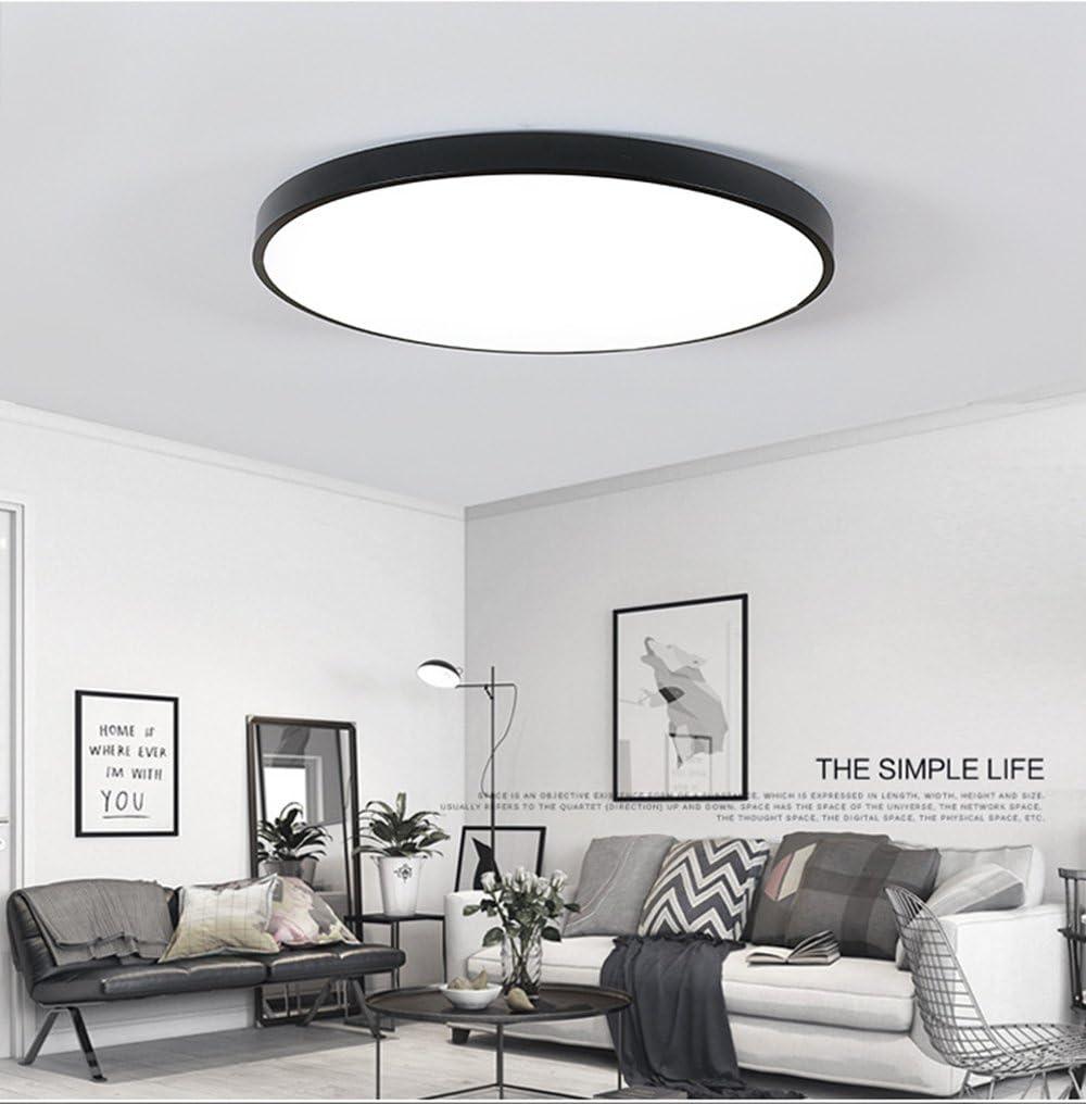 Ultra dünne LED Deckenleuchte Energiesparende Deckenleuchten Runde Lampe  für Wohnzimmer 12W Schwarz Dimmbar