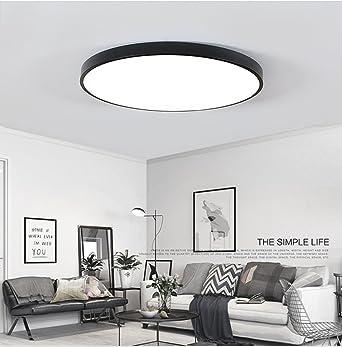 Ultra-dünne LED Deckenleuchte Energiesparende Deckenleuchten Runde Lampe  für Wohnzimmer 9W Schwarz Kaltes Weiß