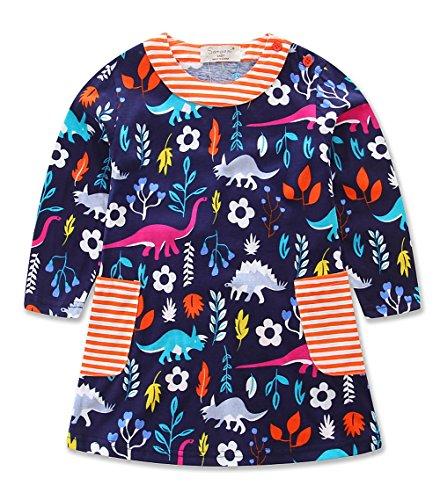 Girls Cotton Birds Animals Print Crewneck Long Sleeve T-shirt Dress (4-5Y, Dinosaur) (Animal Dress For Kids)