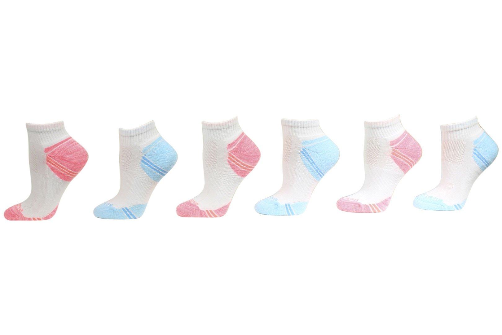 Skechers Women's 6-Pairs White/Blue Quarter Crew Cut Socks Sz: 9-11 Fits 5-9.5